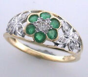 9ct Solid Gold Vintage Insp Emerald And Diamond Ring R64 Custom
