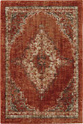 Karastan Red Transitional Casual Stained Bordered Area Rug Medallion 90935 20044