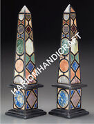 18 Black Marble Multi Marquetry Inlaid Decorative Obelisks Set Of Two E519