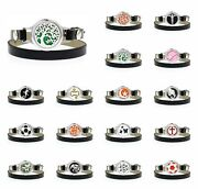 25mm Alloy Aroma Essential Oil Wrap Leather Diffuser Locket Bracelet With 10pad