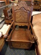 17th Century Wainscot Carved Oak Rectory Antique Wood English Colonial Chair