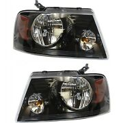 Headlight Set For 2006-2008 Ford F-150 Left And Right Black Housing Capa 2pc
