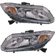 Headlight Set For 2013 2014 2015 Honda Civic Left And Right With Bulb Capa 2pc