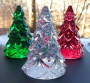 Waterford Crystal Figural Three Miniature Christmas Tree Figurines New In Box