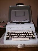 Unique Fully Functioning Robin Egg Blue Royal Quiet Deluxe Typewriter With Case