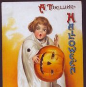 Scarce Clapsaddle Halloween Ghost Child With Mechanical Arm,vintage Postcard