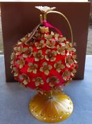 Jay Strongwater Embellished Ball Ornament Red W Floral Elements New With Stand