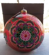 Jay Strongwater 2018 Opulent Glass Ball Ornament Signed New In Box