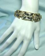 Gold Plate Bracelet W White And Amethyst Colored Glass Sets 3/4andrdquo Wide X 7 1/8andrdquo