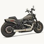 Bassani 2-1 Stainless Road Rage Megaphone Exhaust For 18-20 Harley Dyna Fxfb