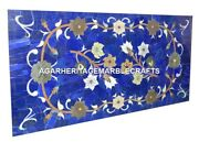 Marble Dining Coffee Table Top Lapis Lazuli Gem Inlay Floral Living Decor H2040