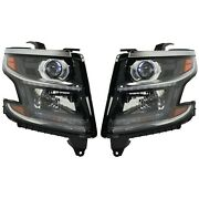 Hid Headlight Set For 2015-2017 Chevrolet Tahoe Left And Right W/ Bulbs Pair