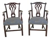 25653ec Pair Stickley Colonial Williamsburg Mahogany Chippendale Arm Chairs