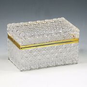 Vintage To Antique Large Clear Crystal Trinket Casket Or Jewelry Box