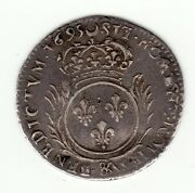 French Colonial Very Nice 1695 And Recoined Silver 1/12 écu, Breen Class 4 T