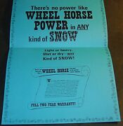 Vintage 1969 Wheel Horse Tractor And Snowblower Snow-power Chart Framable 658