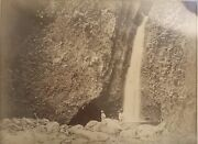 1885 Vintage Albumen Photograph Of A Waterfall On Hawaii