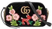 New Current Gg Marmont Black Chevron Embroidered Shoulder Crossbody Bag