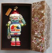 Jay Strongwater Toy Robot In Santa Hat Ornament Elements New In Box