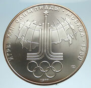 1977 Moscow 1980 Russia Olympics Rings Globe Silver 10 Rouble Coin I75021