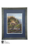 20th C. English Watercolor Landscape Mill Stone Cottage Farm Hills Framed 22