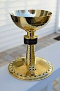 + Nice Antique All Sterling Silver Chalice + Hand Made + 7 Ht. + Cu500