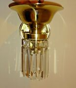 Pair Art Deco Brass With Crystal C1920and039s Gorgeous Sconces