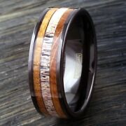 8mm Tungsten Deer Antler And Whiskey Barrel Wood Wedding Band Ring Jewelry Tw