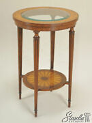 L46769 Maitland Smith 8131-30 Round Mahogany Glass Top Occasional Table New