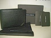 New Dolce And Gabbana Dandg Mens Pebbled Black Leather Bifold Coin Wallet Italy Box