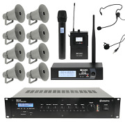 Outdoor Public Address System With 8 Weatherproof Horn Speakers And Wireless Mic