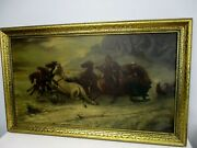 1888 Signed J Harding Russian Troika Carriage Threatened By Wolves Painting
