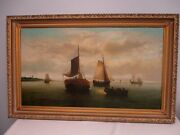 Antique Signed Dutch Old Master Painting Ships In Harbor 30 High X 50 Wide