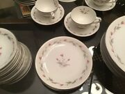 Vintage Empress China, Thistle Pattern 57 Pieces White With Pink And Grey, Trim.