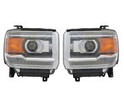 Left And Right Genuine Led Style Headlights Headlamps Pair Set For Gmc Sierra 1500