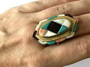 Exquisite Native American Made By Ervin Hoskie 14k Gold Inlayed Ladies Ring Sz 7
