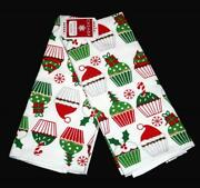 2 Decorated Christmas Cupcakes Santa Hats Candy Canes Trees Kitchen Towels Nwt