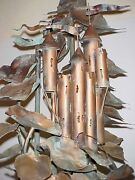 Famous C. Jere Huge Standing Copper Leaves W/castle Water Fountain Mid Century