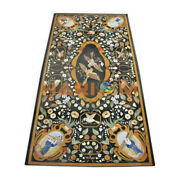 4and039x2and039 Black Marble Dining Table Top Bird Marquetry Inlay Living Room Decor B364