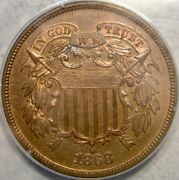 1868 Two Cent Piece Gorgeous Toning Repunch Date Pcgs Pf 64 Rb Rare 600 Struck