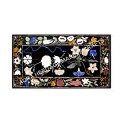 6and039x3and039 Marble Black Hallway Garden Table Top Marquetry Inlay Outdoor Decor E981b