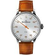 Meistersinger Menand039s No 5 43mm Brown Leather Band Steel Case Auto Crocoprint Cogn