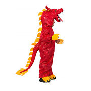 Child Boy's Red New Year Fire Chinese Dragon Halloween Costume Jumpsuit Tail S