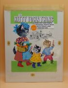 Vintage Saalfield Publishing Kitty Town Twins Original Book Cover Art Painting