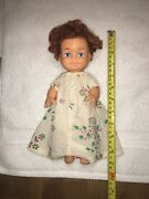Rare Vintage Antique Rubber Baby Doll Flower Outfit Big Blue Eyed Girl
