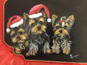 Three Yorkie Puppies For Christmas Hand Painted Board