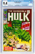 Hulk 102 Cgc 9.4 Marvel 1968 1st Issue Avengers Thor White Pages 199 Cm Cl