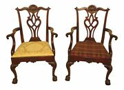 43915ec Pair Kittinger D2125 Ball And Claw Chippendale Mahogany Arm Chairs
