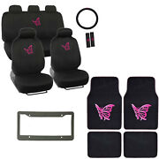 Pink Butterfly Logo Black Car Seat Covers Floor Mats And Steering Wheel Cover Set