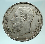1873 Belgium With King Leopold Ii And Lion Genuine Silver 5 Francs Coin I75940